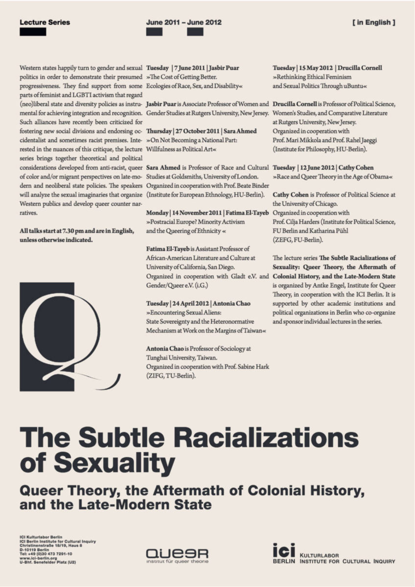 LS The Subtle Racializations of Sexuality Poster